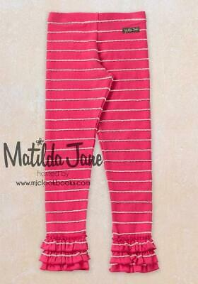 NWT Sze 14 Matilda Jane GIANNA RUFFLED LEGGINGS Friends Forever Red Stripe NEW