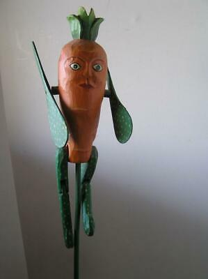 "Folk Art Whirligig Hand Carved Painted Anthropomorphic Ooak Fiigure 20"" tall"
