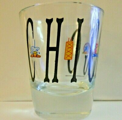 """""""Chicago"""" Shot Glass With Great Lettering And Colorful Landmarks! Wrap Around!"""