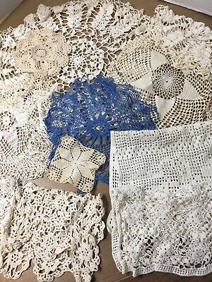 LOT Of 11 VINTAGE HAND EMBROIDERED CROCHET  DRESSER SCARF/DOILIES