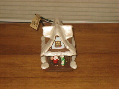 Hallmark Pigtail Ornament Of Cuckoo Clock Like Alpine Village & Mr/Mrs Clause