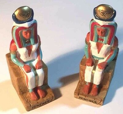 "Two Egyptian Figurines Bookends 6"" Renewer Pharaoh Luxor  Hotel"