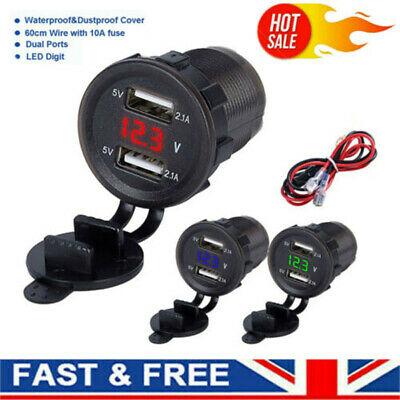 12V/24V 4.2A Dual USB Car Motorcycle Charger Socket Adapter Outlet LED Voltmeter