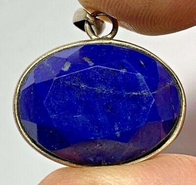 BEAUTIFUL ANTIQUE  SILVER PENDANT-LAPIS LAZULI STONE (Egyptian stone) 7.4gr 27mm