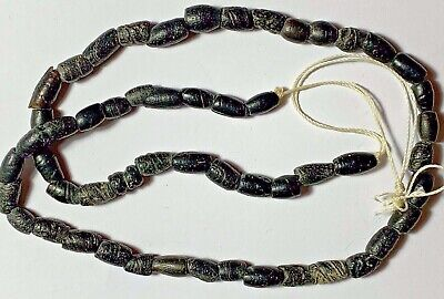 Rare Ancient Egyptian Glass Dark Beads Necklace Circa 2500 - 1900 Bc Fantastic