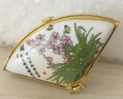 Porcelain sector Jewelry box painted plants orchid flower Chinese ancient poetry