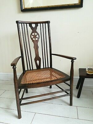 Antique Arts and Crafts Chair Cane Seat Low Fireside/ Nursing C 1910