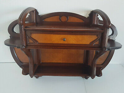 Elegant Art Nouveau Wall Shelf Wall Cabinet Mahogany Probably France um 1900