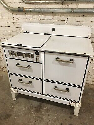 Vintage Estate Fresh Air Oven Metal Porcelain -Gas Antique Stove- White