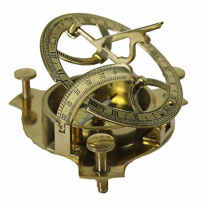 "Brass Sundial Compass 4"" Nautical Maritime Antique Vintage Style Sun Dial Gift"