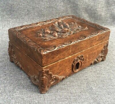 Antique black forest jewelry box made of wood early 1900's Germany woodwork