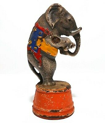 Early 20Th C Vint Cast Iron Standing Circus Elephant Bank, W/Orig Enamel Paint