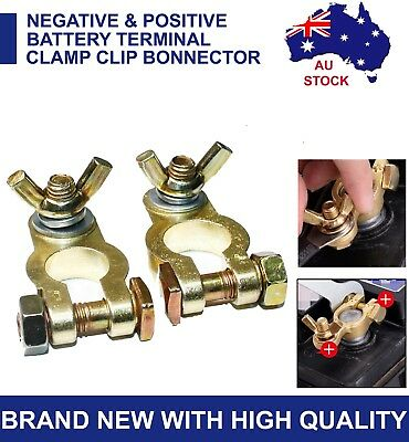 Heavy Duty Battery Terminals Clamps Dual Connector Positive + Negative Truck UTE