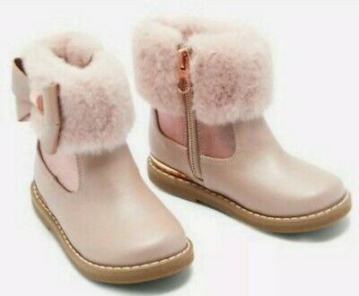 Ted baker girls pink faux fur cuff boots / shoes with sizes.