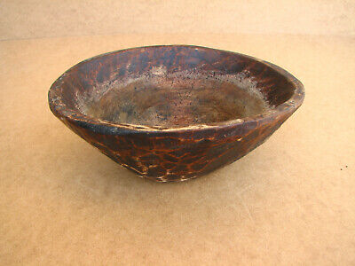 Old Antique Primitive Wooden Wood Hand Carved Meal Bowl Cup Country Rustic 19th