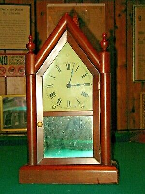 Seth Thomas Antique Steeple Shelf Mantle Clock Key Pendulum Mahogany Case 8 Day