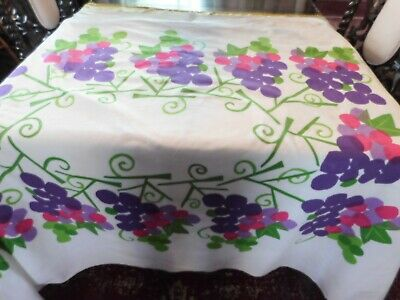 Vera Neumann Tablecloth Mod Pop Art Flowers Floral 78x58 Vintage Cotton 70s