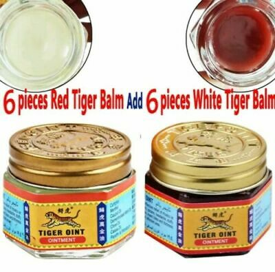 12 x Baume du tigre 6 rouges et 6 blancs White and Red tiger balm lot 19.4g