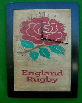 England rugby picture frame clock  engraved wood wall clock