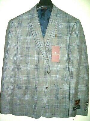 40S Bruno Magli Spring Summer Blazer Made in Italy Unlined Plaid Grey Sport Coat