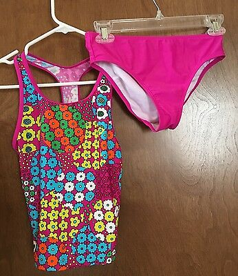 Speedo Girls Floral Print Two Piece Swim Suit Size 14