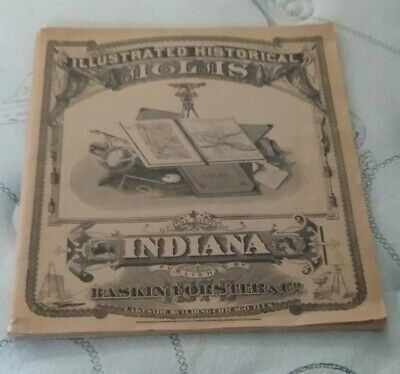 1876 Illustrated Historical Atlas Indiana All Counties Maps 1968 Reprint 14 X17