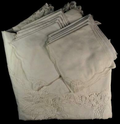 "Hand Made Tape Lace 118"" Banquet Tablecloth W/12-16"" Napkins"