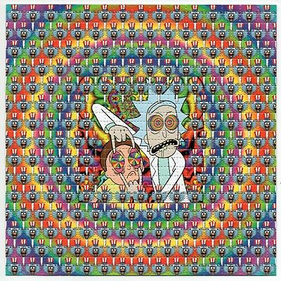 Rick and Morty Tripping Out BLOTTER ART perforated sheet paper psychedelic art