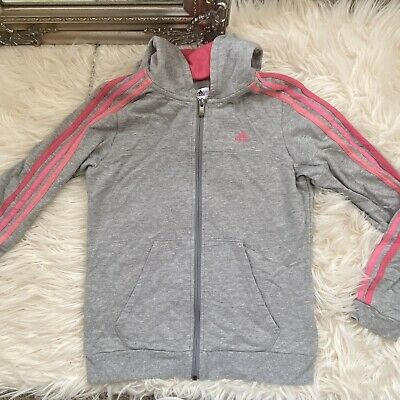 Girls Kids Adidas Tracksuit Top Pink And Grey Size Ages 11-12 Years