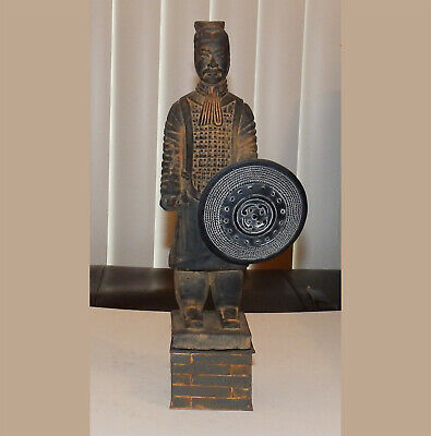 """10.5"""" terra cotta chinese warrior resin replica on 2"""" wood stand w/ resin shield"""