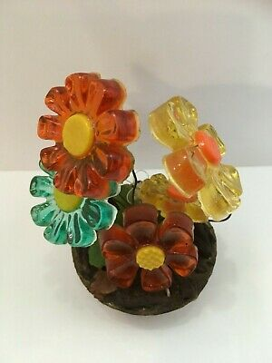 Vintage 1960-70's COLORFLO Resin Lucite FLOWER Sculpture Figurine MCM