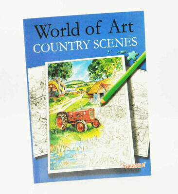 A4 Adult Anti-Stress Country Scenes Colouring Book Therapeutic Stress Relief