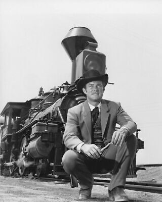 The Wild Wild West Robert Conrad In Front Of Train B/W  8x10 Glossy Photo