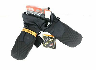 New The North Face Goretex Spell Out Winter Mittens Gloves Black Womens Medium