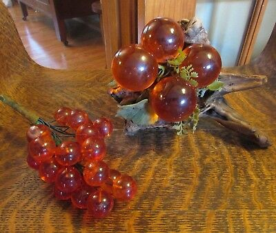 Lot, Mid Century Orange Lucite Grape Cluster W/ Driftwood Base & Small Cluster