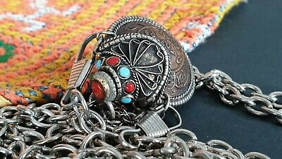 Old Tibetan Coin Snuff Bottle with Local Turquoise & Coral & Silver on Chain...