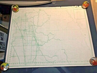 "1952 Map Tulare County Sequoia  National Park California 24"" X  31"""