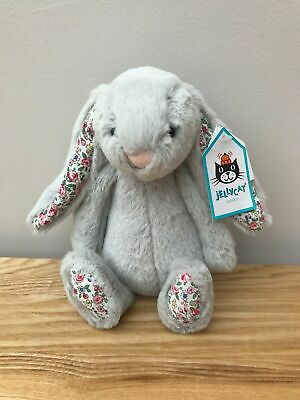 NEW Jellycat Small Bashful Blossom Bunny Rabbit Grey Silver  with tag