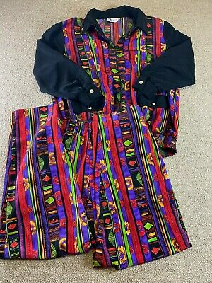 Maggie Sweet Windbreaker Suit 2 Piece Set African Flowers Colorful Women Red VTG