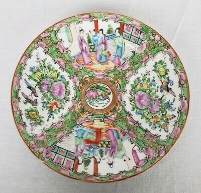 Antique Chinese Porcelain Canton Rose Medallion Dinner Plate 9 1/2""