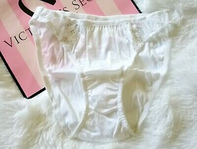 Vtg Victoria Secret second satin panties gold label  white rare glossy gorgeous