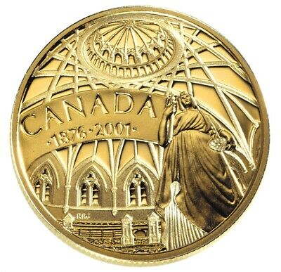 2001 CANADA $100 LIBRARY of PARLIAMENT 14k 1/4oz Proof GOLD Coin w/COA/Case&Box