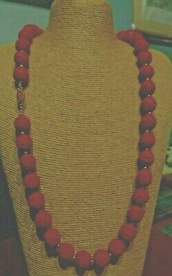 """Chinese Carved Cinnabar Beads Necklace. 30.5"""". Vintage."""