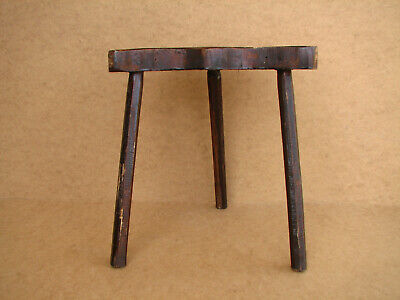 Old Antique Primitive Wooden Wood Three Legged Milking Stool Rustic Chair 20th