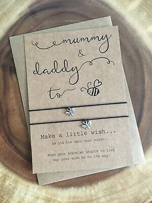 Mummy & Daddy To Bee Be Pregnancy Congratulations Wish Bracelet Baby Shower Gift