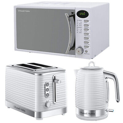 Russell Hobbs Inspire Microwave Kettle Toaster White Set Cheap Sale Clearance