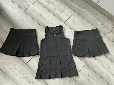 Next Girls Grey School Pinafore Dress And 2 Skirts Age 3 Good Condition