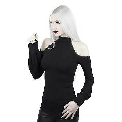 DARK IN LOVE Cut-Out Longsleeve Top Gothic Langarm-Shirt Damen Schwarz Stretch