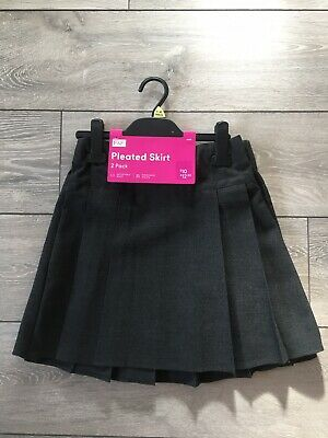 2 Pack Of Girls Pleated Grey School Skirts Age 9-10