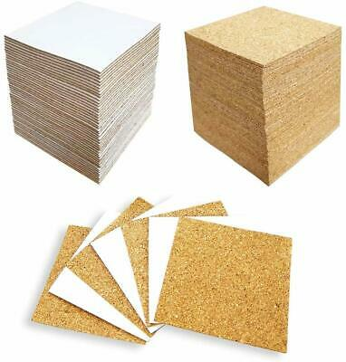 4 X 4 Inches 100 Pack Self-Adhesive Cork Squares Tile Coasters Board DIY Crafts
